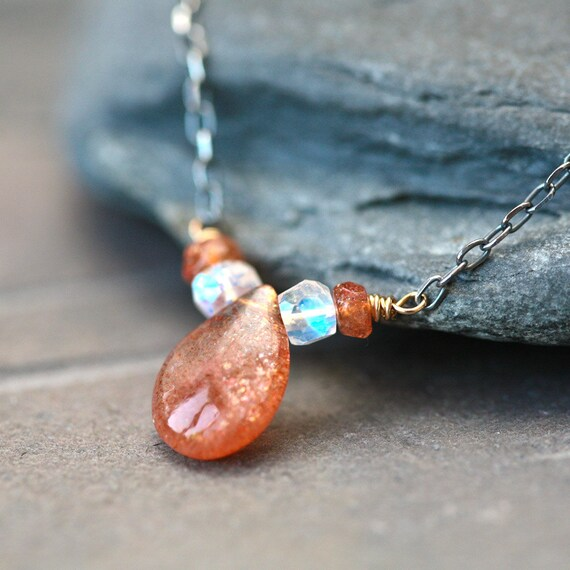 Sunstone and Moonstone Wire Wrapped Mixed Metal Necklace - Design 2