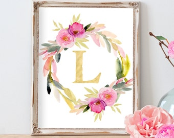 Watercolor Floral Wreath Monogram, Colorful Nursery Art,  Nursery Monogram, Personalized Watercolor Nursery Art, Dorm Decor, Office Decor