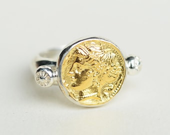 Silver Coin Ring | Ancient Coin Ring | Silver Coin Jewelry | Silver Gold Ring |Replica Coin Ring |Statement Ring |Coin Signet Ring for Women