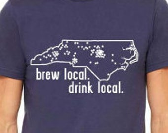 NORTH CAROLINA Beer Shirt, Drink Local, Craft Beer Shirt, Brewery Map Shirt for Homebrewer, Beer Geek, Christmas Gift, Birthday, Fathers Day
