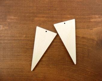 Wood Triangle Earring Blanks Pendant Laser Cut Jewelry Shapes Dangle Earrings - Select a Size