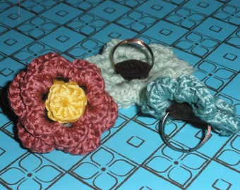 Hand-crocheted Irish Rose Flower Adjustable Ring-Multiple Colors Available