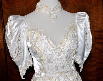 White Vintage Beaded Sequin Bridal Gown, White Beaded Wedding Gown, Beaded Sequin Bride Gown, White Pearl Beaded Vintage Bridal Gown