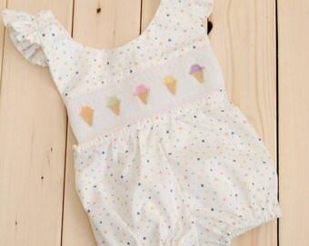 Ice cream bubblesuit. Smocked ice cream cones.  Baby bubblesuit.  Star print bubblesuit.  Baby girl romper. Smocked romper.