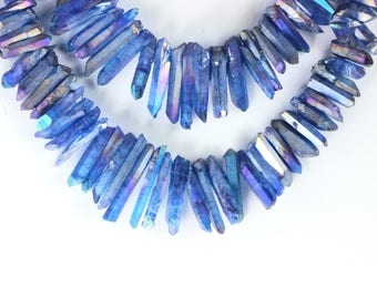 Titanium Quartz Beads, Metallic Blue, Crystal Points, Stick Beads, Topped Drilled, Mixed Size, 12mm to 31mm, Loose Gems  Metallic KJ