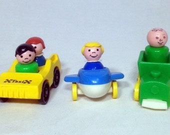 Fisher Price Taxi Main Street #2500  Fisher Price Plane Fisher Price Train Pretend Play Little People Little Riders #656 FP Vintage Toy