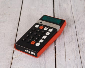 Vintage calculator elka 131, Portable calculator, Pocket calculator, Led display calculator, Desk accessories 70's, Steampunk assemblage
