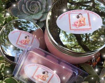 Throw Sass Around Like Confetti, highly scented candle, 16 oz, hand poured, jar candle