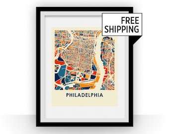 Philadelphia Map Print - Full Color Map Poster
