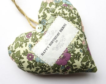 Happy Birthday Heart Gift - Personalised Heart Produced in Your Choice of Fabric. Supplied Gift Boxed