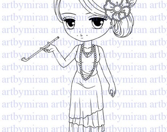 Digital Stamp-Patsie, Digi Stamp, Coloring page, Printable Line art for Card and Craft Supply