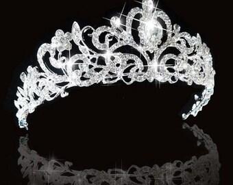 Wedding crown etsy bridal princess crystal tiara wedding crown veil hair accessory prom pegeant silver junglespirit Choice Image