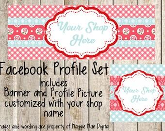 Shabby Chic Rose Facebook Set, Facebook banner, Facebook graphics, Facebook cover photo, store graphics, timeline set, flower, gingham, dots