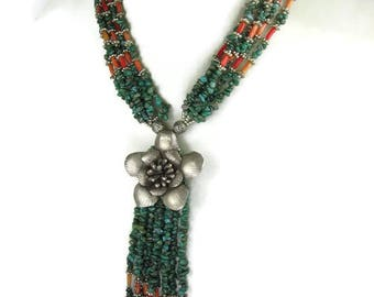 Turquoise Coral Statement Necklace