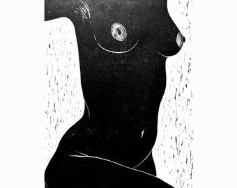 Nude 1 original linocut print