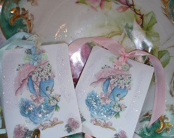 Easter any time  Bluebird of happiness tags*Eight*pink and blue ribbons*ribbon flowers*German diamond dust*blue mica*Pink roses