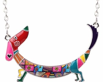 Multi-colored Enamel Curved Dachshund Necklace