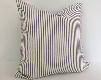 Navy Ticking Stripe Throw Pillow Cover 18x18 knife edge
