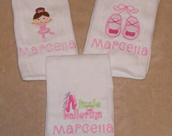 Personalized Ballet Burpor Bib Cloth Set - 3-piece
