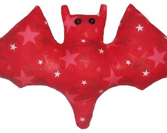 Glittery Stars Red Bat Pillow