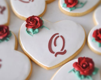 wedding decorated cookie, rose decorated cookie, red rose decorated cookie.
