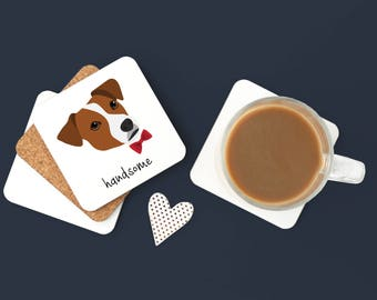 Personalized Jack Russell Terrier Coasters, Jack Russell Gifts, Custom Jack Russell Terrier Gifts, Jack Russell Terrier Coaster (Set of 2)