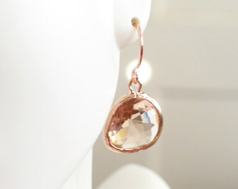 Rose Gold Earrings, Champagne Rose Gold Earrings, Peach Glass Earrings, Bridal Earrings, Bridesmaid Gift, Everyday Earrings, Simple Earrings