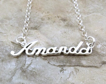 Sterling Silver Name Necklace -Amanda - on Sterling Silver Rolo Chain in Length of Choice -1280