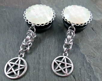 "Dangle Plugs - 7/8"" 22mm - 1"" 25mm - Pentacle Plugs - Chainmaille Jewelry - Pagan Jewelry - Pentacle Gauges - Plug Earrings"