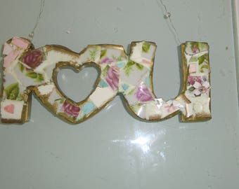 I HEART  U in mosaic and wire to hang up
