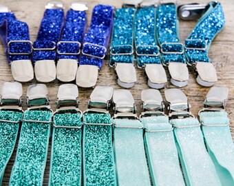 BLUE GLITTER Garters for Thigh HIGH socks - Crocodile clips onto shorts or lingerie - Burlesque sock suspenders - Glamorous Wedding garters