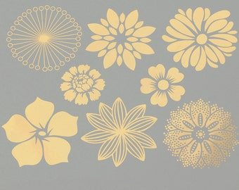 Large Flowers Ceramic Decals, Glass Decals or Enamel Decals