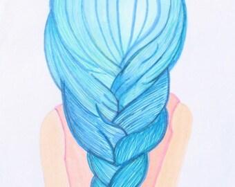 illustration print ballerina blue! by Renee Ortiz illustrations©