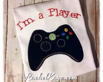 I'm a player controller appliqué valentines day shirt long short boy girl made to order