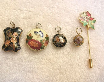 5 Pieces Vintage Cloisonne Jewelry, Pendants, Stick Pin, Flowers, Butterfly