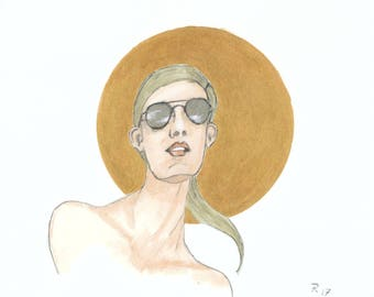Glasses & Gold III, Original drawing on paper, One of a kind, Sketch 7.8 * 7.8 in
