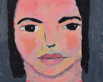 Acrylic Girl Portrait Painting. Miniature Painting. Wall Art Painting. Gift for Women. Perfect Stocking Stuffer