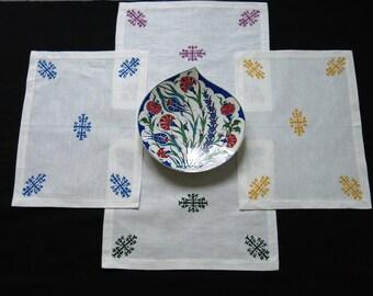Hand painted placemat set with kirgiz design