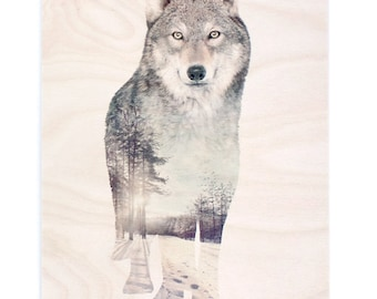 Wolf Animal Double Exposure Plywood Print - Faunascapes by WhatWeDo
