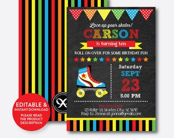 Instant Download,  Editable Roller Skating Birthday Invitation, Roller Skating Invitation, Roller Skate Invitation, Chalkboard (CKB.349)