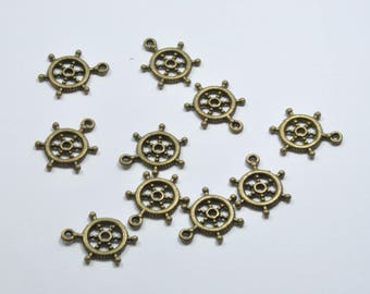 BR992 - Set of 10 small boat in colored metal bar charms bronze