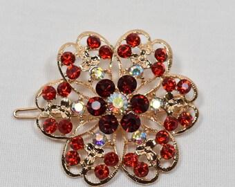 Red Rhinestone crystal Hair pin, Wedding bridal hair clip, Rhinestone Hair clip, wedding cake accessories, DIY Supply, Hair Accessories