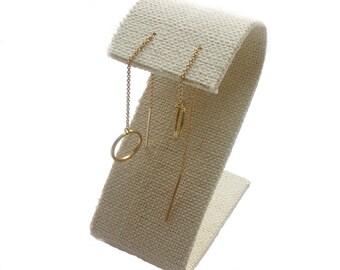 Circle Threader Earrings; Circle Earrings; Chain Earrings; Circle Jewelry; Threader Earrings; Gold Circle Earrings; Statement Earrings
