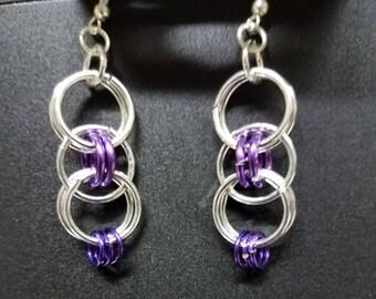 Floating bubbles earring,Helm weave earrings,chainmaille earrings,bubble earrings