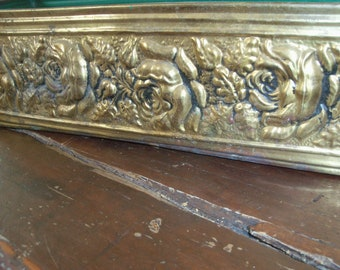 Vintage Brass Planter Vase Rectangular Box England