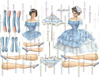 PAPER DOLL BLUE Vintage digital Altered art Ballerina  paper Doll Printable Paper doll papercrafts cardmaking