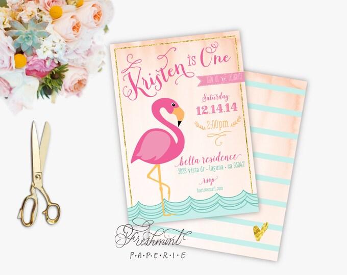 FLAMINGO invitation - flamingo Birthday invitation - tropical invitation - Pink Flamingo invitation - Flamingo invite - Flamingo party
