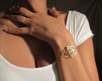 Wide Bracelet, Statement Bracelet, Geometric Bracelet, Geometric Jewelry, Unique Bracelet, Elegant Bracelet, Edgy Jewelry, Design Bracelet
