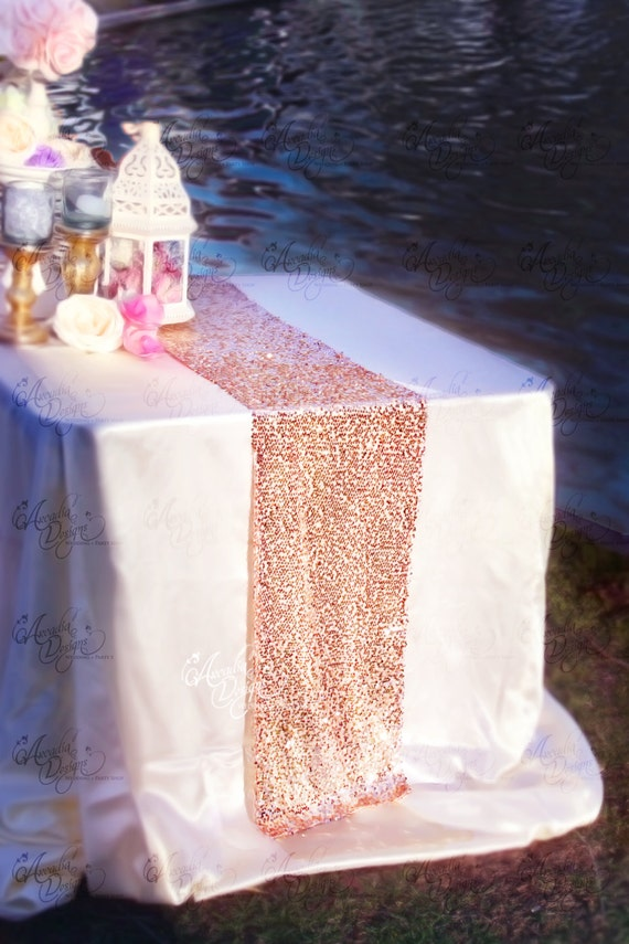 Top Rose Gold Sequin Table Runner Sparkly Mauve Pink Sequin Runner SU16
