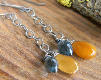 smooth copper rutile and london blue quartz dangle earrings - sterling silver